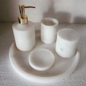 afyon beyaz mermer banyo seti